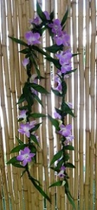 Ti Leaf Lei with Accent of Orchids in Los Angeles CA, Haru Florist