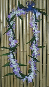 Ti Leaf Lei intertwined with Single Orchid Lei in Los Angeles CA, Haru Florist