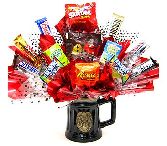 CBPOLICE ''Police Officer Mug'' Candy Bouquet in Oklahoma City OK, Array of Flowers & Gifts