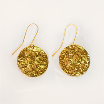 Gold Botanical Earrings in Dallas TX, Dr Delphinium Designs & Events