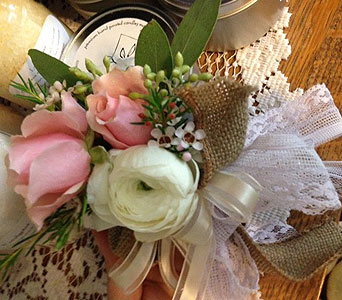 Burlap and Lace Corsage in Sevierville TN, From The Heart Flowers & Gifts