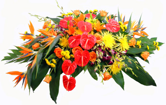 Tropical Paradise Deluxe Casket Spray in Omaha NE, Piccolo's Florist