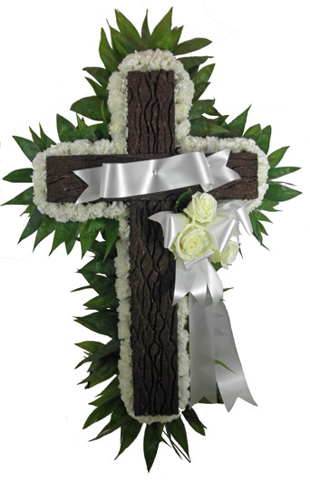 Simple Devotion Rustic Cross with Banner in Omaha NE, Piccolo's Florist
