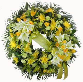 Sunshine Sentiments Wreath in Raleigh NC, Fallon's Flowers