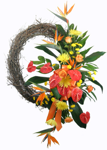 Tropical Paradise Wreath in Raleigh NC, Fallon's Flowers