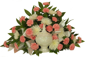Timeless Traditions Pink Carnation Cremation Arrangement in Omaha NE, Piccolo's Florist