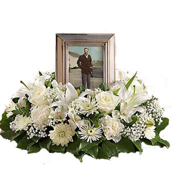 White Cremation Wreath in Omaha NE, Piccolo's Florist