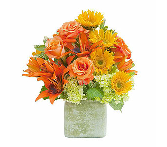 Textured Sunset Vase in Holladay UT, Brown Floral