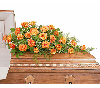 Orange Rose Casket Spray in Metairie LA, Villere's Florist