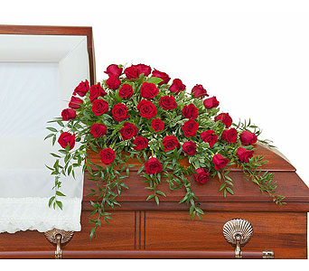 Simply Roses Deluxe Casket Spray in Bloomington IL, Forget Me Not Flowers