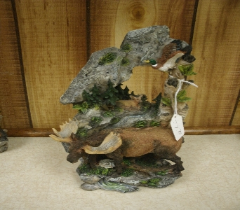 Moose with Calf and Duck Figurine in Ionia MI, Sid's Flower Shop