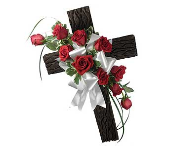 Rustic Memories Olde Rugged Cross with Rose Spray in Chicagoland IL, Amling's Flowerland