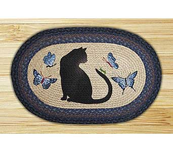 Hand Stenciled Oval Cat Braided Rug24.95 in Westerville OH, Reno's Floral