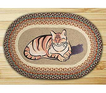 Hand Stenciled Oval Cat Nap Braided Rug24.95 in Westerville OH, Reno's Floral
