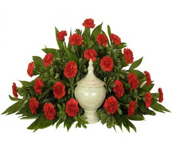Timeless Traditions Red Carnations Cremation Setting in Chicagoland IL, Amling's Flowerland