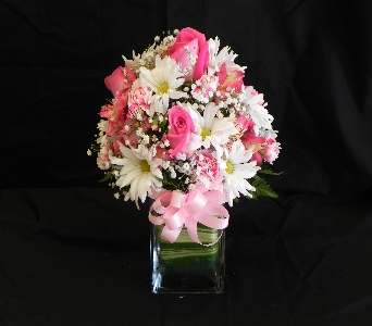 Glass Cube Mixed Spring with Roses Arrangement in Mililani Town HI, Mililani Town Florist