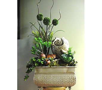 Zen Bird Fountain with Faux  Plants in Tampa FL, Buds Blooms & Beyond