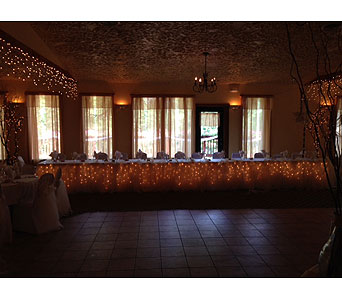 Lighted Head Table with Tulle and Ribbons in Loudonville OH, Four Seasons Flowers & Gifts