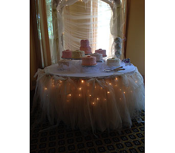 Lighted Cake Table with Tulle in Loudonville OH, Four Seasons Flowers & Gifts