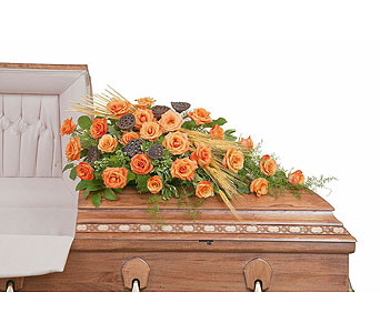 Fall Splendor Casket Spray in Holladay UT, Brown Floral