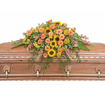Heaven's Sunset Casket Spray in Augusta GA, Ladybug's Flowers & Gifts Inc