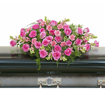 Peaceful Pink Casket Spray in Indio CA, The Flower Patch Florist