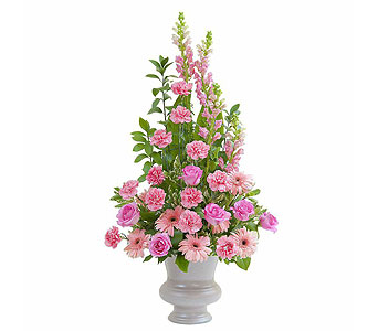 Peaceful Pink Large Urn in Lakehurst NJ, Colonial Bouquet