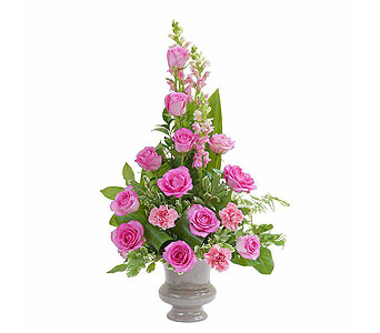 Peaceful Pink Small Urn in Holladay UT, Brown Floral