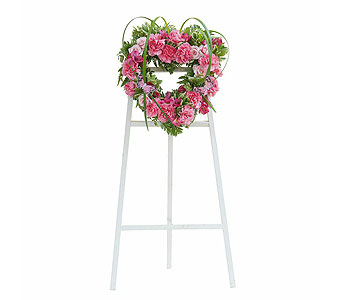 Peaceful Pink Heart Spray in Breese IL, Mioux Florist