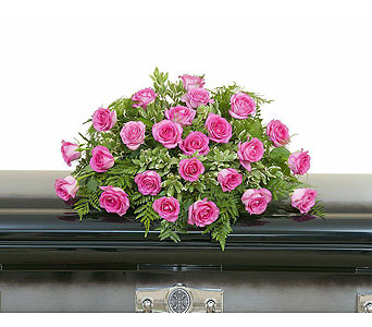 Pink Rose Casket Spray in Waukesha WI, Flowers by Cammy