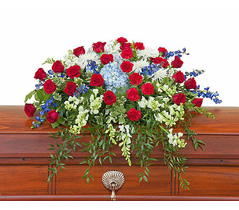 Honor Casket Spray in West Des Moines IA, Nielsen Flower Shop Inc.
