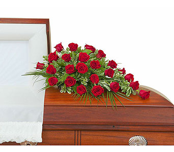 Simply Roses Standard Casket Spray in Bloomington IL, Forget Me Not Flowers