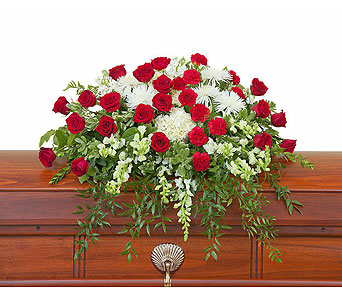 Enduring Strength Casket Spray in Durham NC, Angel Roses Florist