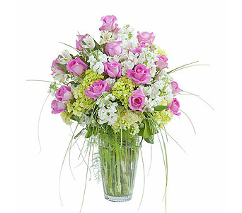 Pink and White Elegance Vase in Mount Morris MI, June's Floral Company & Fruit Bouquets