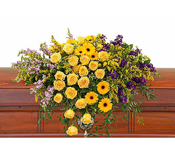 Vivid Memories Casket Spray in Holladay UT, Brown Floral