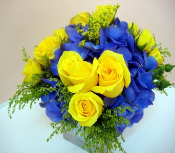 Golden Blue Arrangement in San Francisco CA, Fillmore Florist