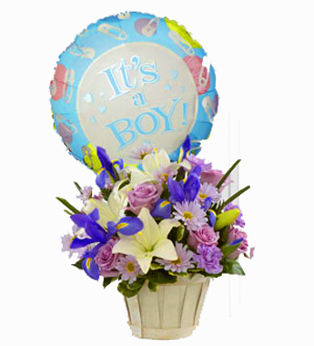 Baby Basket and Balloon: Boy / Girl in Winston-Salem NC, George K. Walker Florist