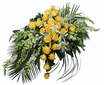 Sunshine Sentiments Cross Reflections Casket Spray in Winston-Salem NC, George K. Walker Florist