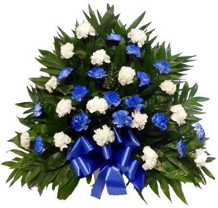32 Carnation Tribute Mache: Blue and White in Fredricksburg VA, Heaven Scent Florist