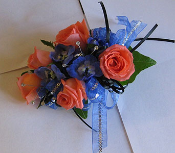 BGHF Blue and Coral Corsage in Hales Corners WI, Barb's Green House Florist