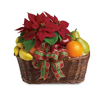 Festive Poinsettia Fruit Basket in Ferndale MI, Blumz...by JRDesigns