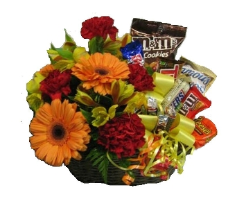 Flowers & Candy Basket Bouquet  in Columbus OH, OSUFLOWERS .COM