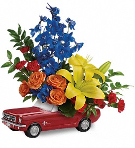 Living The Dream '65 Ford Mustang by Teleflora in Orwell OH, CinDee's Flowers and Gifts, LLC