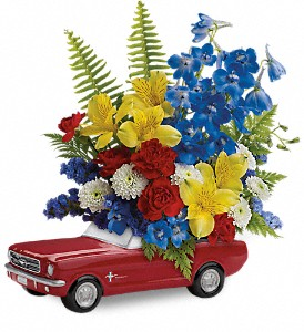 Teleflora's '65 Ford Mustang Bouquet in Indio CA, Aladdin's Florist & Wedding Chapel