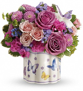 Teleflora's Field Of Butterflies Bouquet in Niagara Falls NY, Evergreen Floral