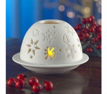 Belleek Living Snow Flake Votive in Willoughby OH, Plant Magic Florist