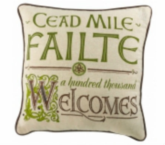 Cead Mile Failte Fabric Pillow in Willoughby OH, Plant Magic Florist