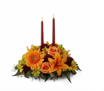 Bright Autumn Centerpiece in Derry NH, Backmann Florist