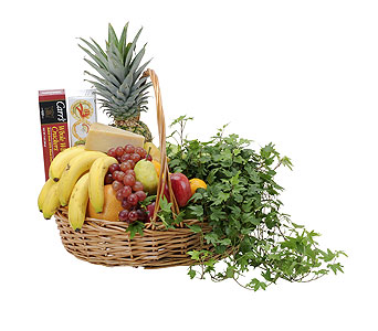 Fabulous Fruit and Cheese Basket in Mount Morris MI, June's Floral Company & Fruit Bouquets