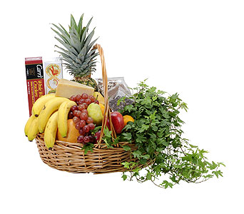 Fabulous Fruit and More Basket in Holladay UT, Brown Floral